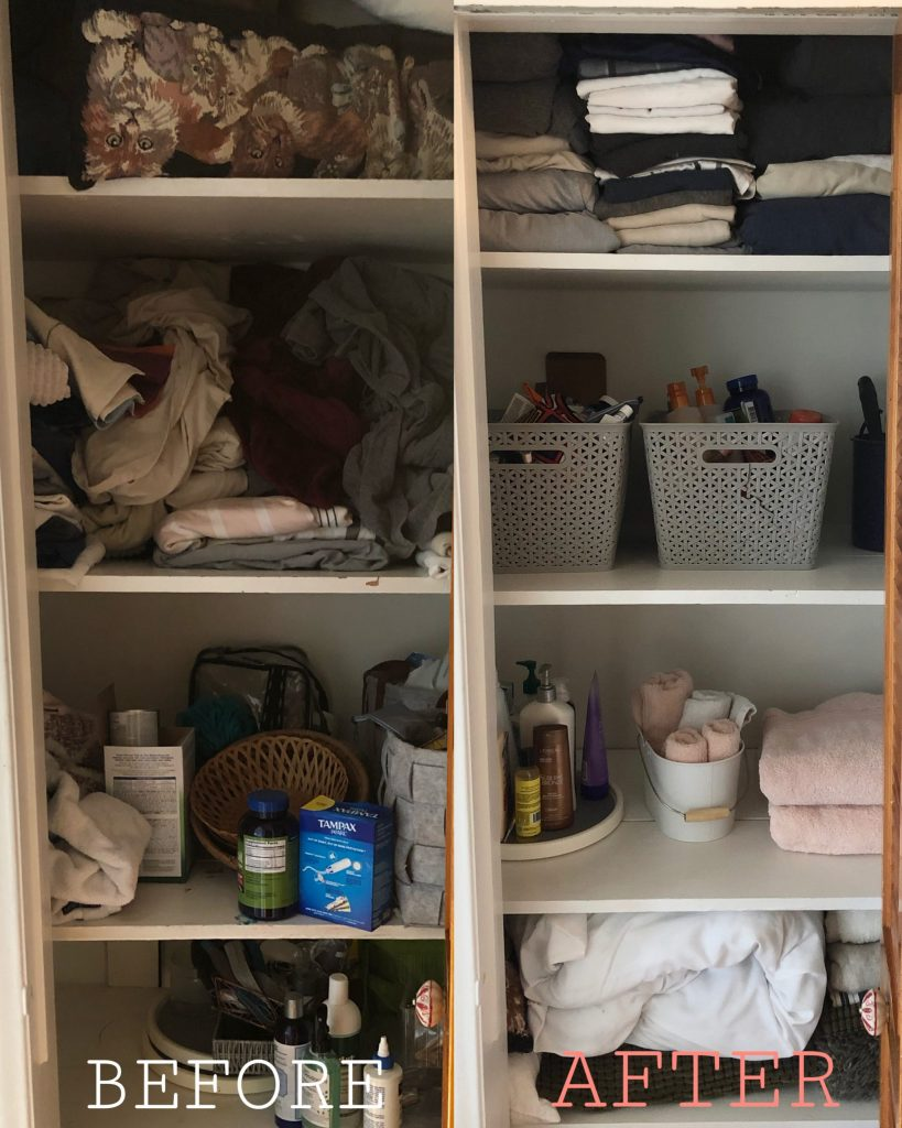 before and after cleaning and organizing bathroom linen closets