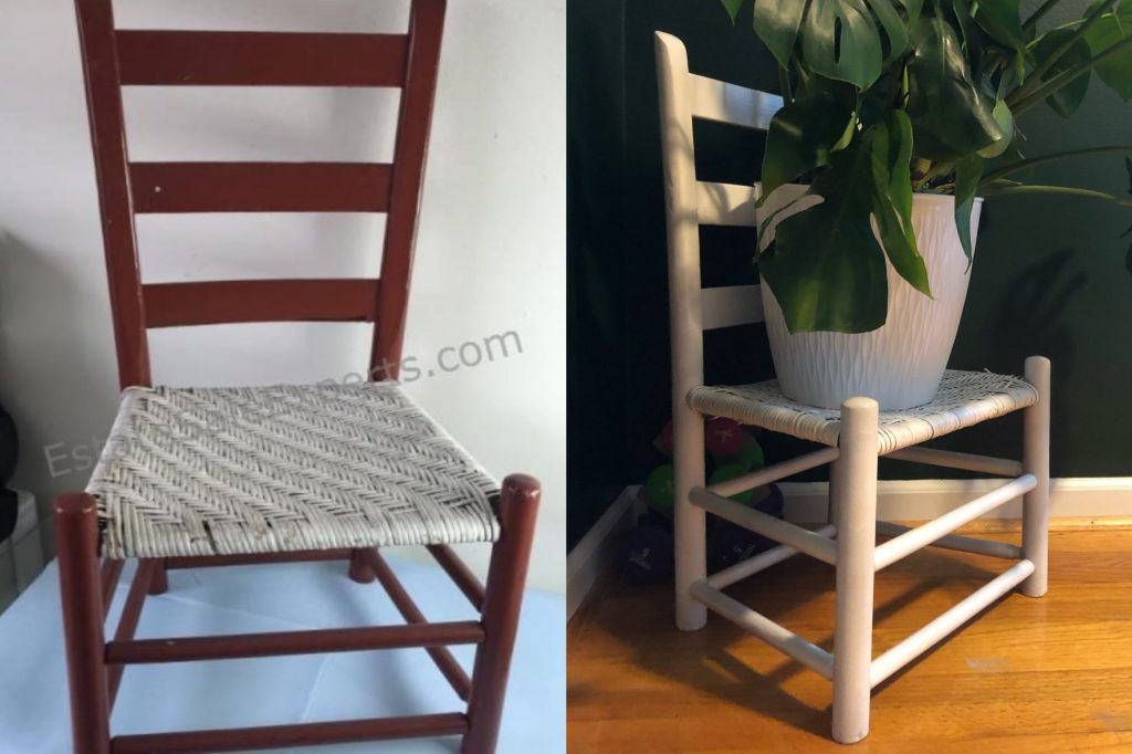 upcycled thrift store chair makeover painted white and used as a plant stand