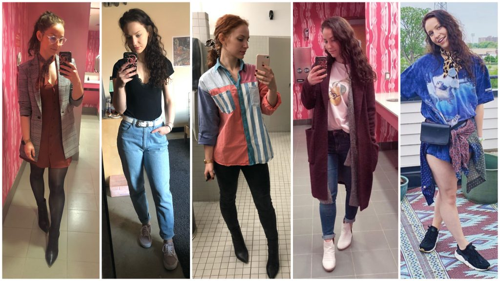 mirror selfies with trendy, vintage inspired outfits young female