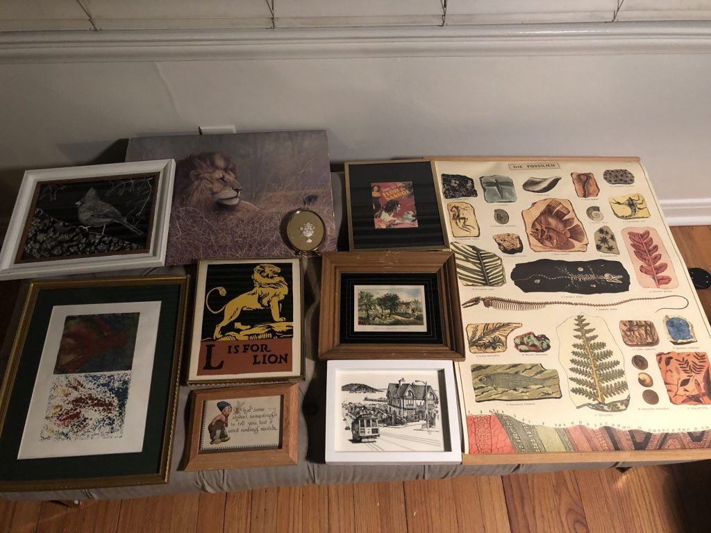 planning gallery wall with vintage thrift store art frames