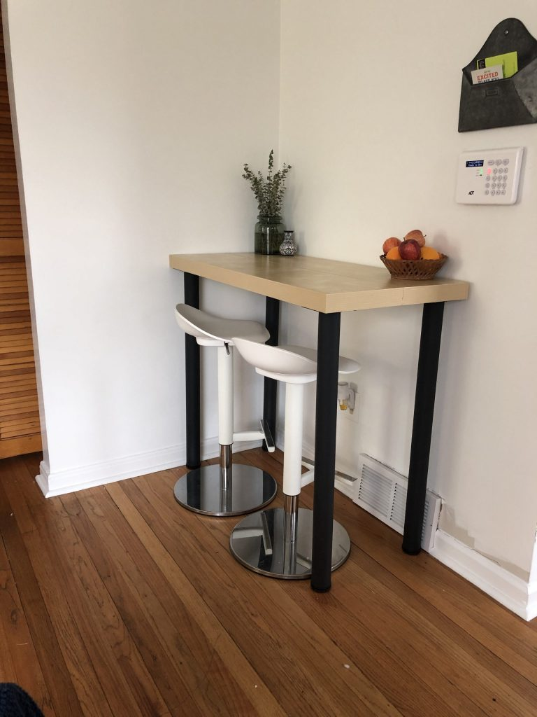 diy table completed with barstools