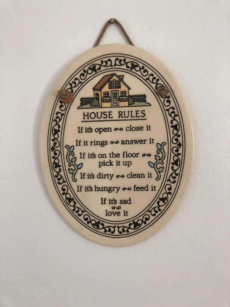vintage house rules plaquard
