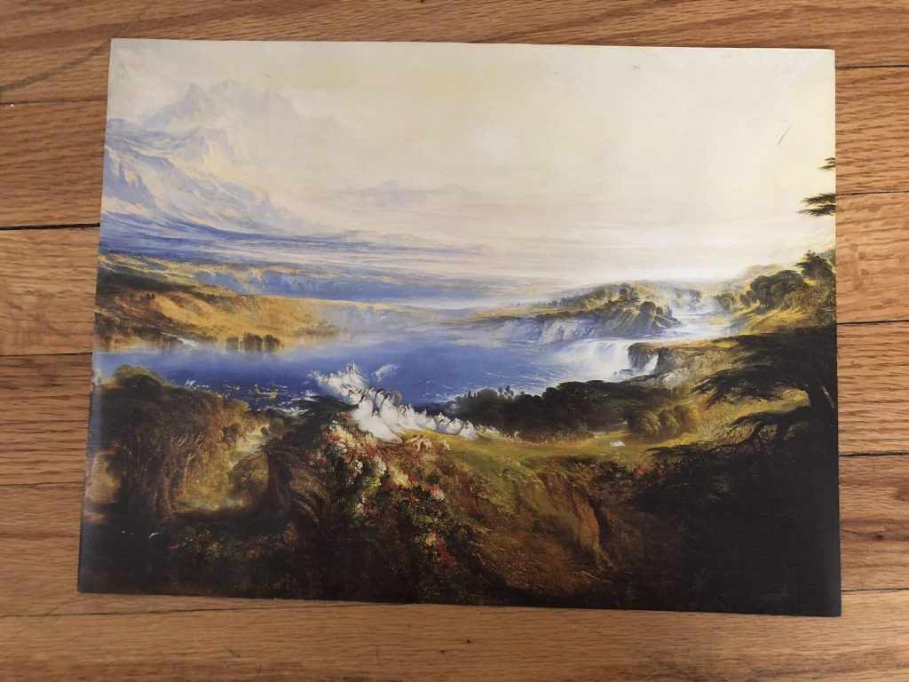 vintage thrift store mountain landscape art painting