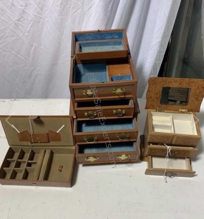 thrift store vintage antique wooden jewelry boxes