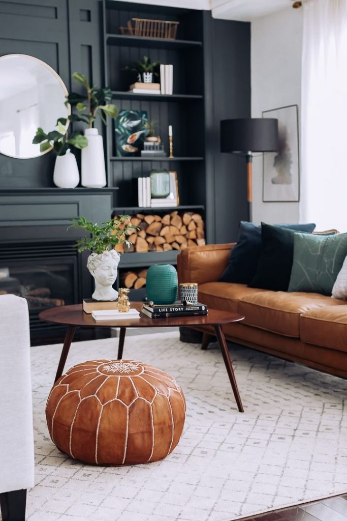 dark walls living room masculine energy, simple style