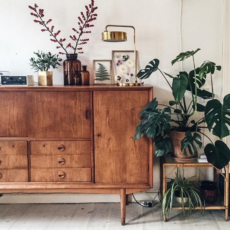 vintage simple decor plants and art on a vintage console