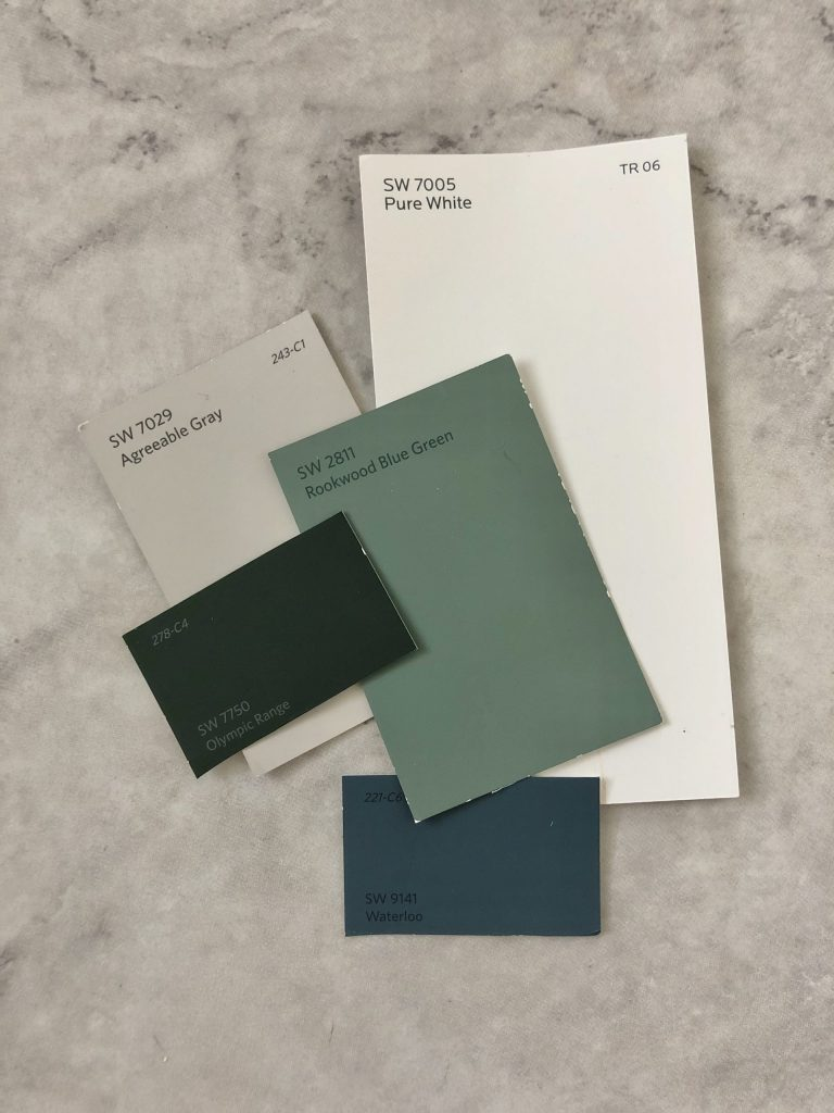 sherwin williams pure white, rookwood blue green, olympic range, agreeable gray, waterloo paint colors