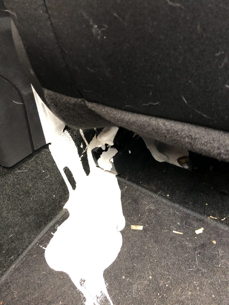 white paint spilled in black ford fusion interior