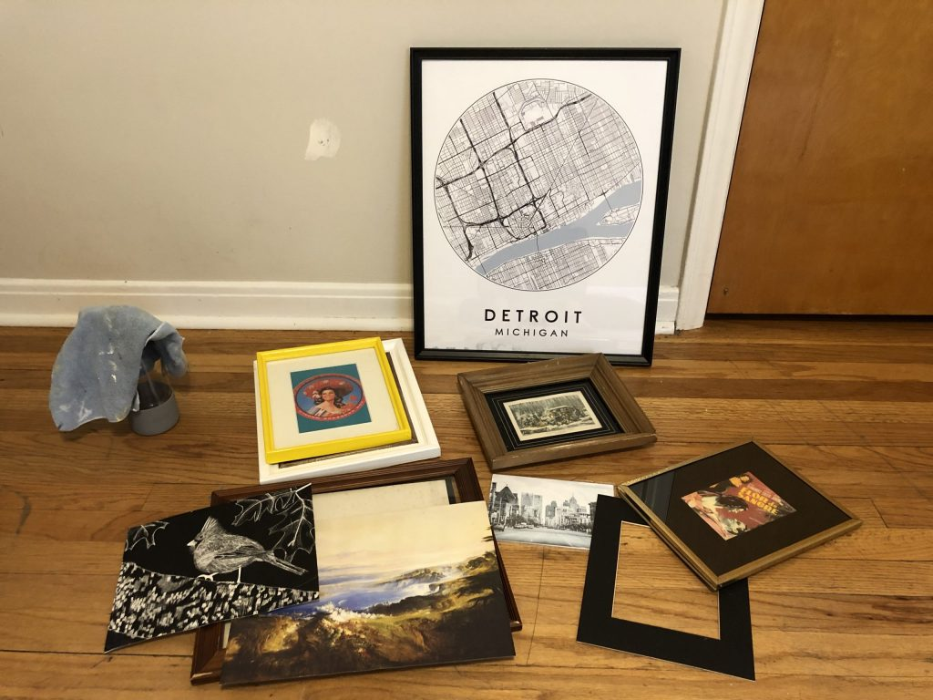 planning gallery wall with thrift store frames