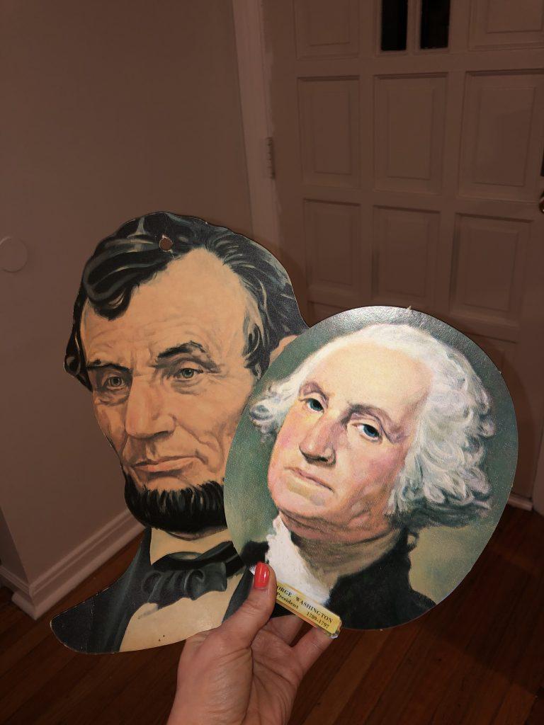 paper heads of abraham lincoln and george washington