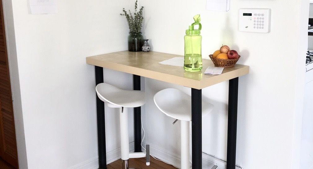 diy table made from shelves