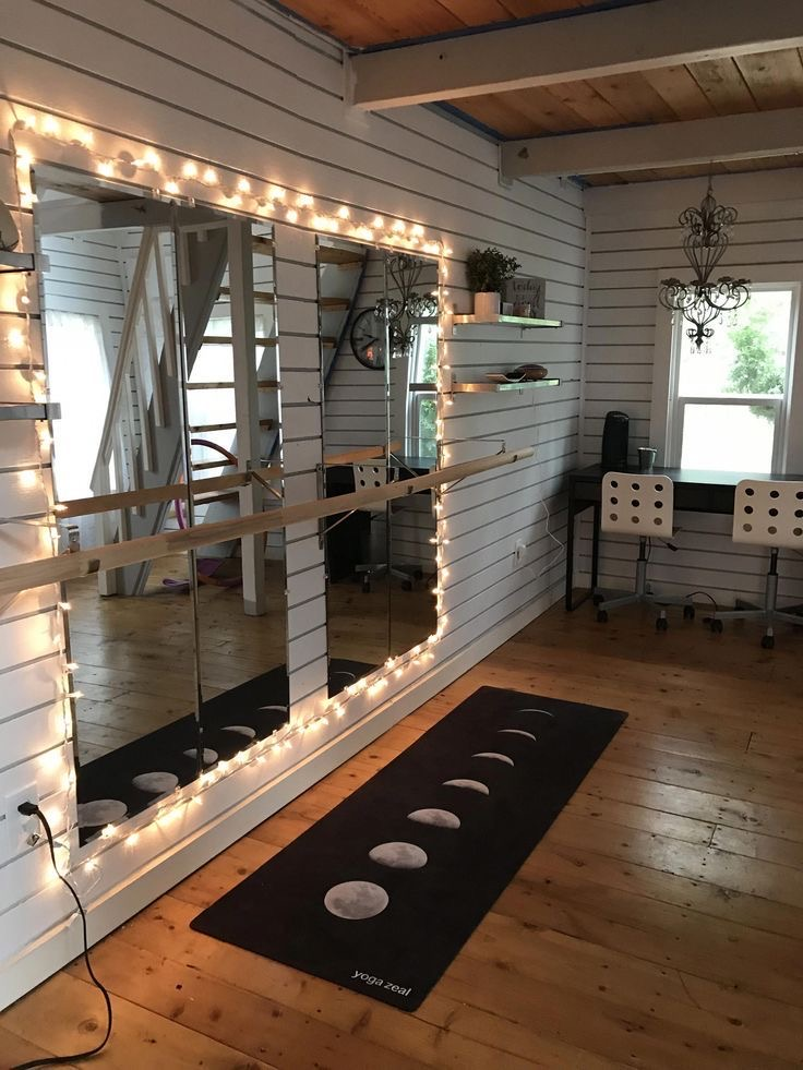 home yoga studio with mirror walls