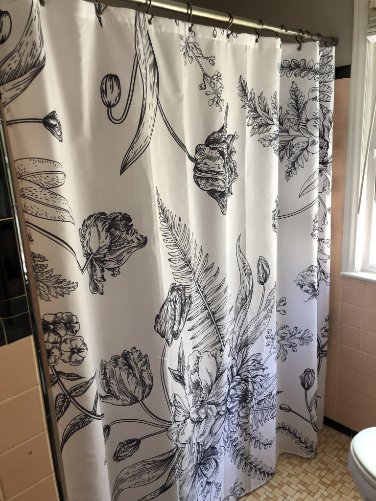black and white floral outline shower curtain